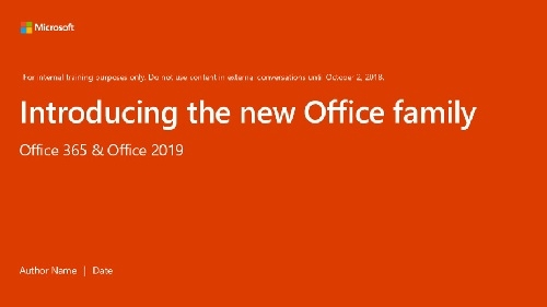 Picture of the new Office 365 and Office 2019 pitch deck