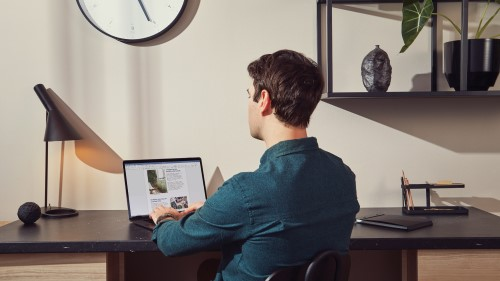 Person working on laptop in home office