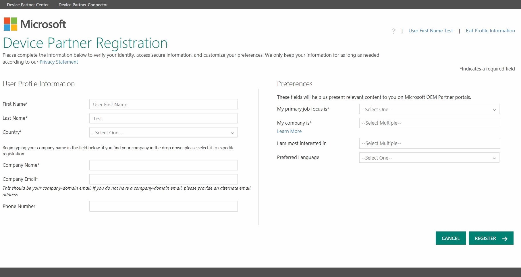 DPC Registration Page