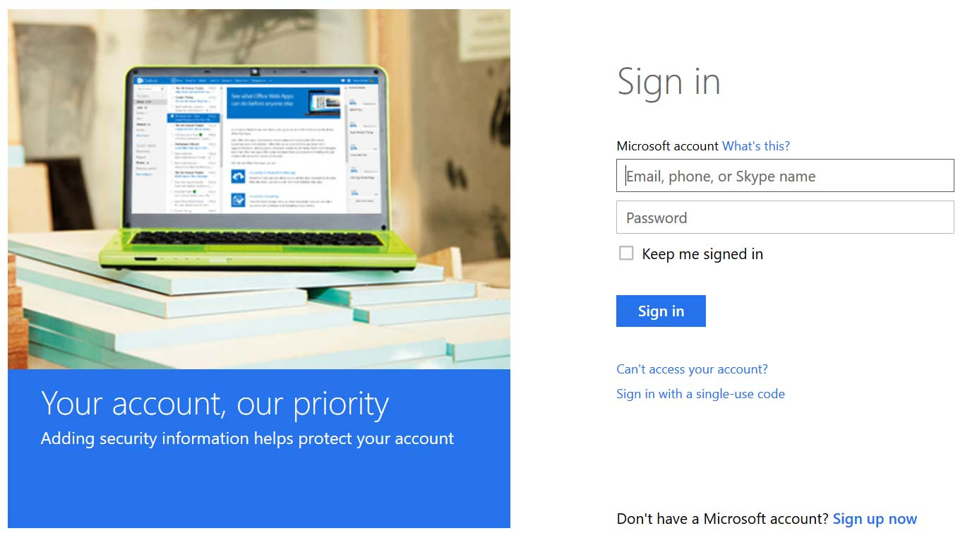 Sign in page for your Microsoft account