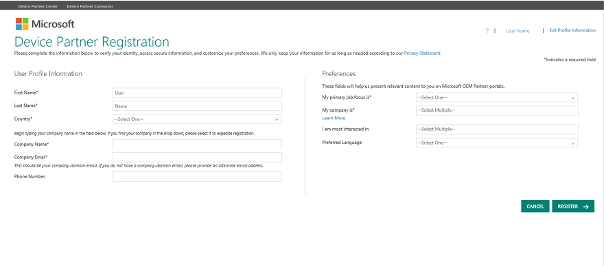 A screen capture of the Device Partner Registration page
