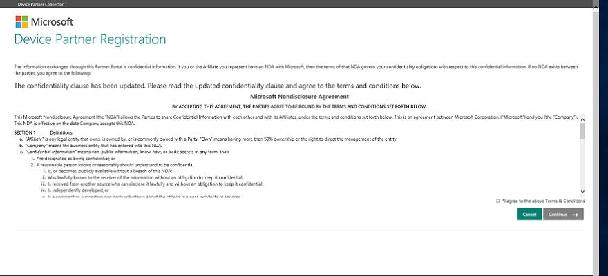 A screen capture of the NDA for Microsoft