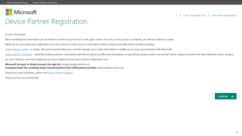 A screen capture of the Device Partner Registration continue page