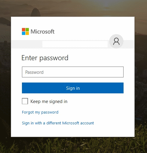 MSA Password Screen